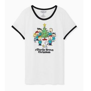Peanuts Christmas White Classic Fit Ringer Tee